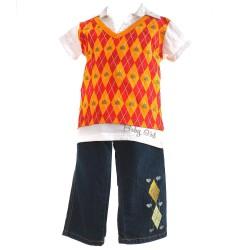 Комплект 2B Real Джинсы+ рубашка+ жилет, 12 месяцев